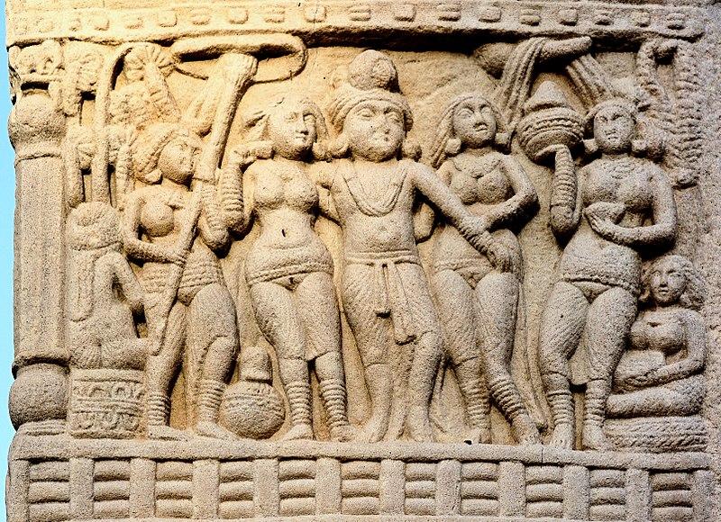 Prikaz Ašoke i njegovih kraljica na stupi