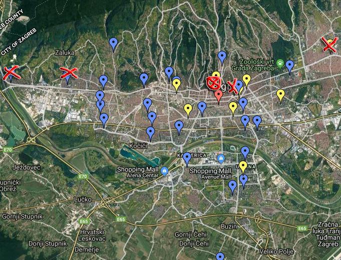 Kgz karta Ogrizović, Google Maps