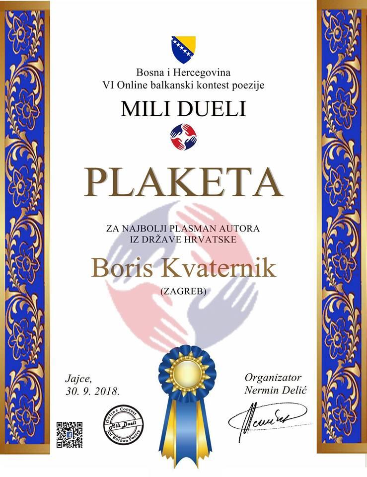 Plaketa Boris Kvaternik Mili Dueli
