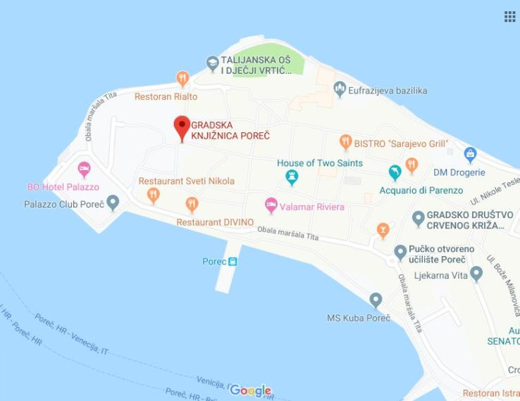 Gradska knjižnica Poreč, Google Maps